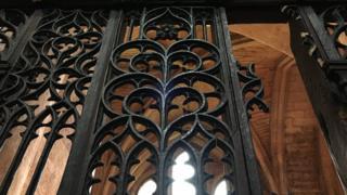 Damaged decorative framework