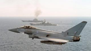 RAF Typhoon escorting the Russian warship Admiral Kuznetsov