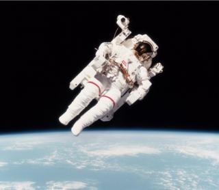 Bruce McCandless in the iconic photo from 1984 when he flew untethered in space