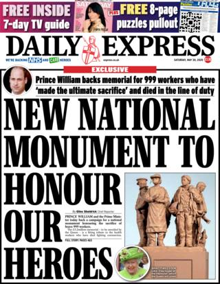 The Daily Express front page 30 May