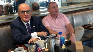 "President Trump""s personal lawyer Rudy Giuliani has coffee with Ukrainian-American businessman Lev Parnas at the Trump International Hotel in Washington"