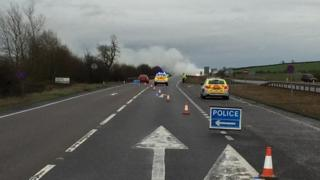 A14 Catworth fire