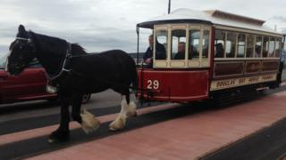 A horse tram on Douglas promenade in the Isle of Man