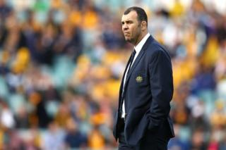 Wallabies coach Michael Cheika looks frustrated on the sidelines