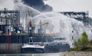 Firefighters try to extinguish fire at the factory of chemicals giant BASF in Ludwigshafen, Germany