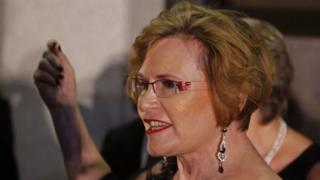 Helen Zille leaves the parliament in Cape Town on February 12, 2015