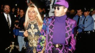 Donatella Versace and Elton John