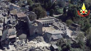 Aerial view of Amatrice - 30 October (firefighters' handout)