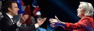 Marine Le Pen (i buryo) azohangana na Emmanuel Macron (i bubamfu) mu matora ya kabiri