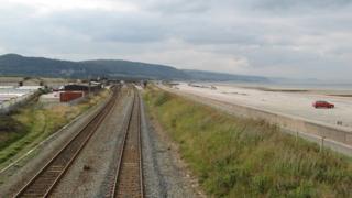 rail line at Pensarn