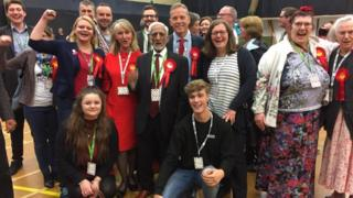 Matt Rodda (centre) celebrating in Reading East