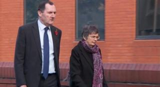 Eileen Coull arriving at Leicester Crown Court on Monday