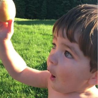 Rhys O'Neill's son gazing at a peach grown from the tree his dad bought for his mum on their first date