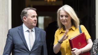 Liam Fox and Liz Truss, the former trade secretary and his successor