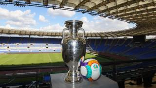 The UEFA Euro trophy in the Stadio Olimpico in Rome