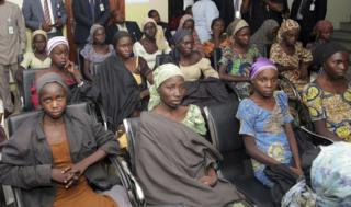 Chibok schoolgirls freed from Boko Haram captivity in October 2016 are seen during a meeting with Nigeria's Vice President Yemi Osinbajo, in Abuja, Nigeria.