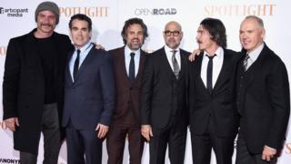 Liev Schreiber, Brian d'Arcy James, Mark Ruffalo, Stanley Tucci, Billy Crudup, and Michael Keaton attend the Spotlight New York premiere