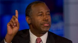 "US Republican candidate Dr. Ben Carson speaks during an appearance on Fox News Channel's ""Hannity"" in New York on 5 October 2015."