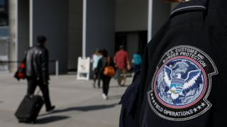 A US Customs and Border Protection agent at the San Ysidro crossing point