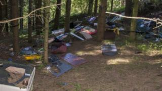 A woodland blighted by fly tipping - items among the mess include broken chairs, kids toys and furniture