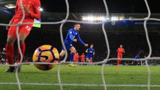 Jamie Vardy celebrates scoring his sides first goal during the Premier League match at the King Power Stadium, Leicester.
