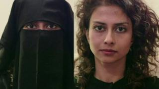 Tania Georgialas with and without the Islamic veil
