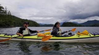 Bronwyn Berg (right) and Hal canoeing
