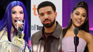 Cardi B, Drake and Ariana Grande
