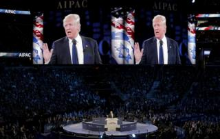 Donald Trump addresses American Israel Public Affairs Committee afternoon general session in Washington. 21 March 2016