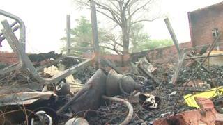 Debris after a church fire