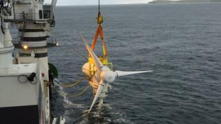 Tidal turbine being lowered in Inner Sound