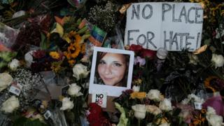 Floral tribute at the scene of the car attack that killed Heather Heyer in Charlottesville, on 14 August 2017