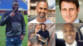 Left: James Oduor. Top centre: Feisal Ahmed Top. Right: Luke Potter Bottom centre: Jason Spindler. Bottom right: Abdalla Dahir