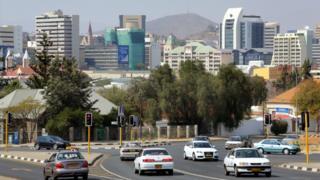 A road in Winhoek with the skyline behind