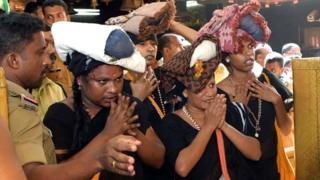 The transgender women pray at the Sabarimala shrine in Kerala state