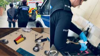 Woman being arrested, drugs paraphernalia, officer bagging up drugs evidence