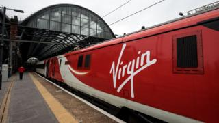 Image of a Virgin east coast train at London's Kings Cross train station