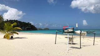 An empty beach in Barbuda