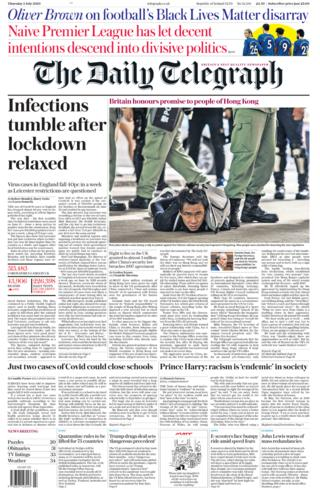 Telegraph front page 02.07.20