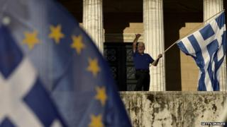 EU and Greek flags flutter