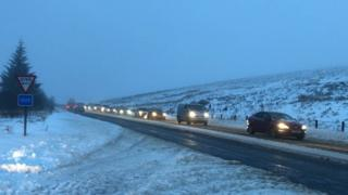 It's picture-perfect on the Glenshane Pass but traffic is moving very slowly
