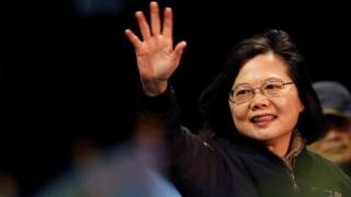 Tsai Ing-wen waving to supporters