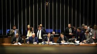 Mesa da Câmara dos Deputados, com o presidente da Casa, Rodrigo Maia, ao centro