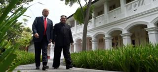 Donald Trump and Kim Jong-un in Singapore (June 2018)