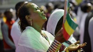 Tens of thousands of Ethiopian Orthodox believers gather at Millennium Hall in Addis Ababa - 4 August 2018