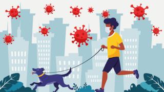 Ilustración de persona corriendo con perro y el coronavirus en el aire