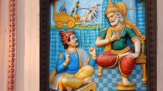 Wall art of Sanjaya telling Dhritarashtra king about Mahabharata war as is in Hindu epic Mahabharata or Mahabharat in Ramkrishna math on March 19,2017 in Hyderabad,India