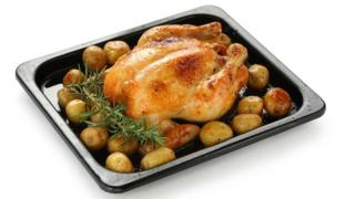Roast chicken and roast potatoes