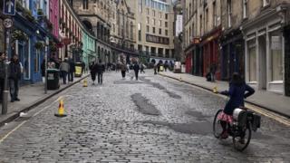 Cyclists in Edinburgh