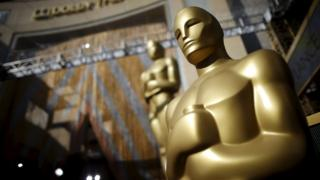 Oscars statues outside the Dolby Theatre in Hollywood, Los Angeles